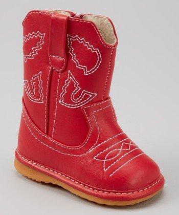 Izzy Bug Creations Red Western Squeaker Cowboy Boot