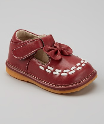 Izzy Bug Creations Maroon & White Bow Squeaker T-Strap Shoe