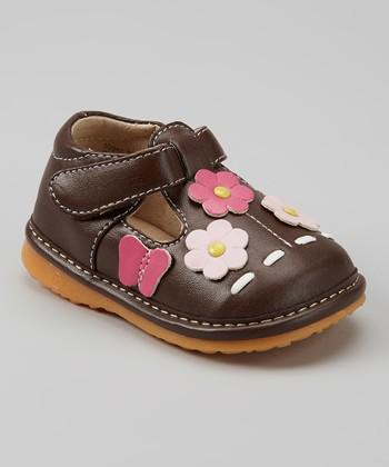 Izzy Bug Creations Brown Garden Squeaker T-Strap Shoe