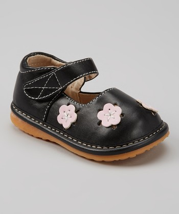 Izzy Bug Creations Black Squeaker Floral Mary Jane