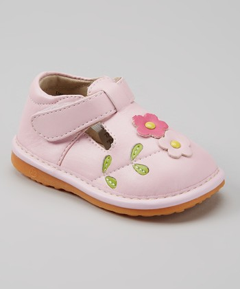 Izzy Bug Creations Pink Flower Squeaker T-Strap Shoe