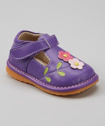 Izzy Bug Creations Purple Squeaker T-Strap Shoe