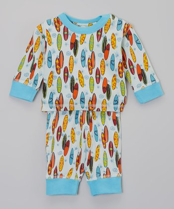 Blue Surf's Up Organic Top & Pants - Infant