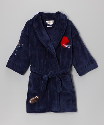 Navy Football Bathrobe - Boys