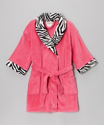 Fuchsia Zebra Bathrobe - Girls