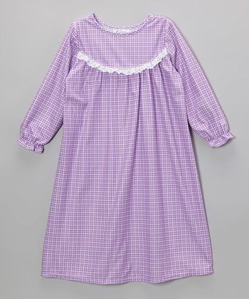 Lilac Plaid Ruffle Nightgown - Toddler & Girls