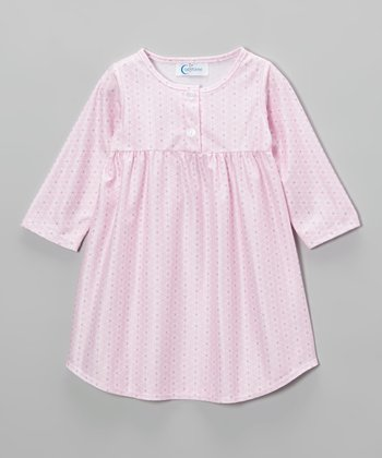 Pink Geometric Button Nightgown - Toddler & Girls
