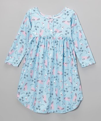 Blue Raccoon Button Nightgown - Toddler & Girls