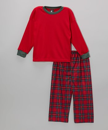 Red Thermal Pajama Set - Toddler & Boys