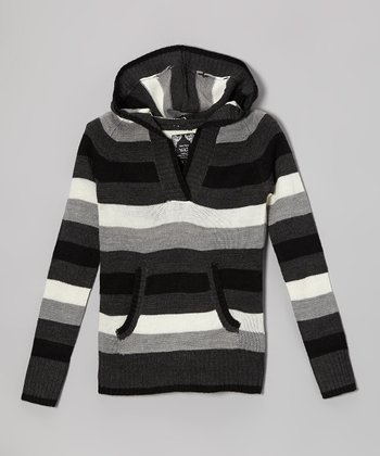 Charcoal Stripe Hooded Sweater