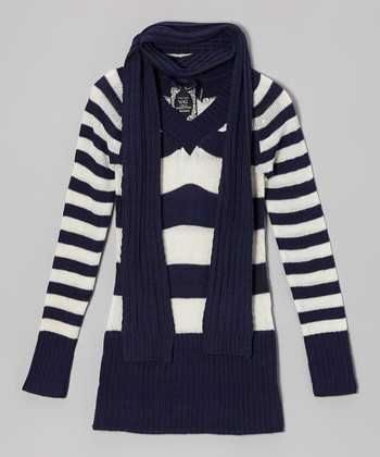 Navy Stripe Sweater & Scarf