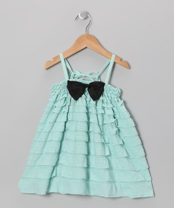 Ice Blue Ruffle Tiered Bow Dress - Girls