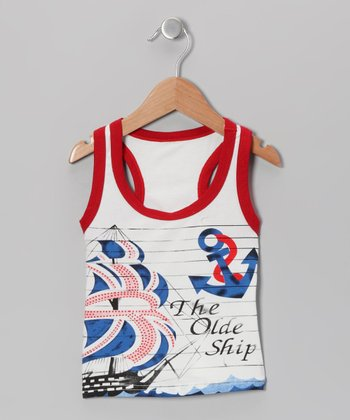 White & Red 'The Olde Ship' Tank - Kids