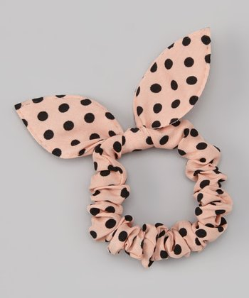 Pink & Black Polka Dot Bunny Ears Hair Tie