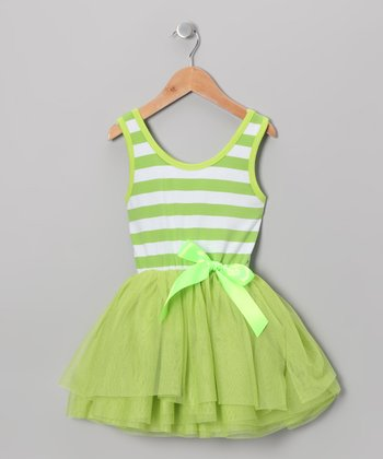 Lime Stripe Tutu Dress - Toddler