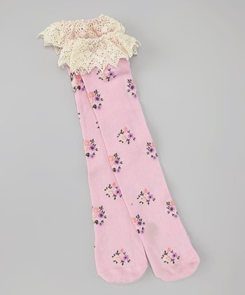 Pink Flower Knee-High Socks