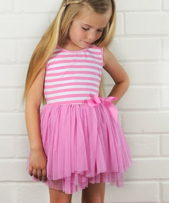 Light Pink Stripe Tutu Dress - Girls