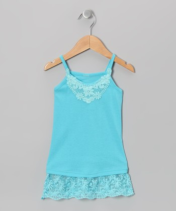 Turquoise Lace Camisole - Toddler & Girls