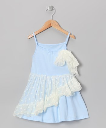Blue Polka Dot Chiffon Ruffle Dress - Girls