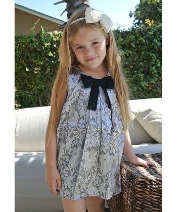 Black & White Lace Bow Dress - Girls