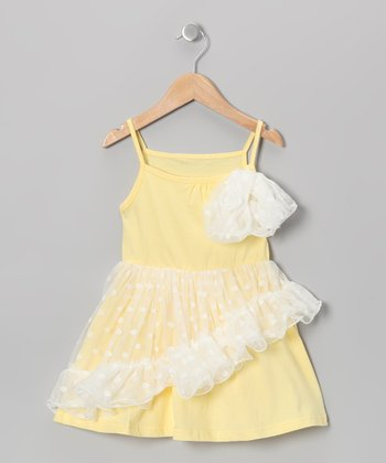 Yellow Polka Dot Chiffon Ruffle Dress - Girls