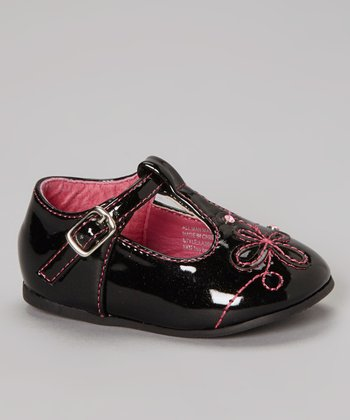 Black Patent T-Strap Shoe