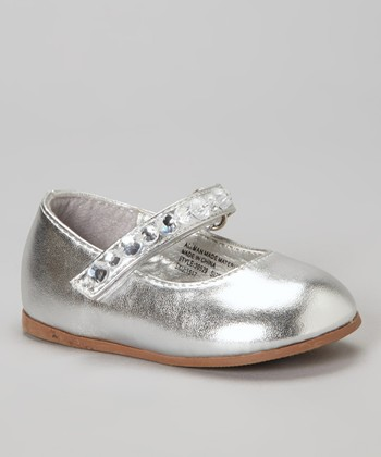 Josmo Silver Patent Embellished Mary Jane