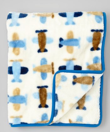 Blue Airplane Stroller Blanket