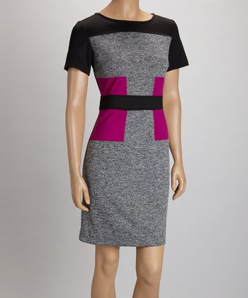 Gray Fuchsia Color Block Sheath Dress