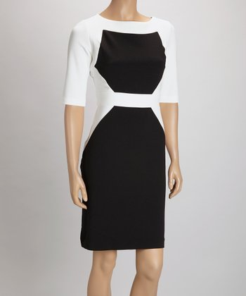 Black & White Color Block Three-Quarter Length Sheath Dress