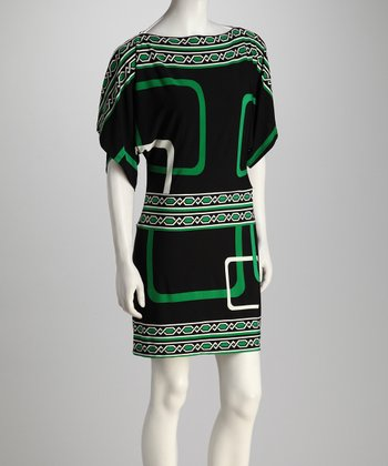 Black & Kelly Green Geometric Dress
