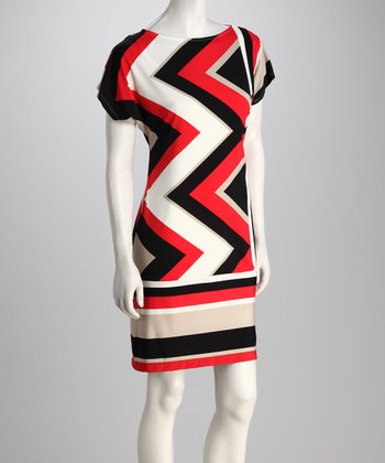 Tomato & Taupe Zigzag Dress