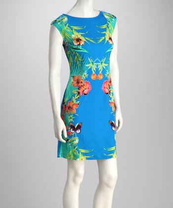Blue Hibiscus Dress