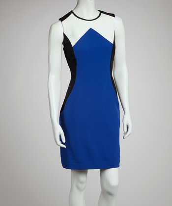 Royal Blue & White Color Block Sleeveless Dress