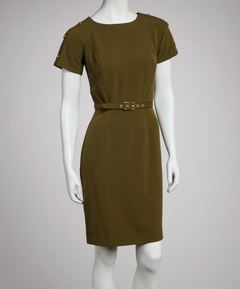 Olive Belted Short-Sleeve Dress