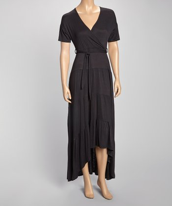 Black Tie-Waist Tiered Surplice Maxi Dress
