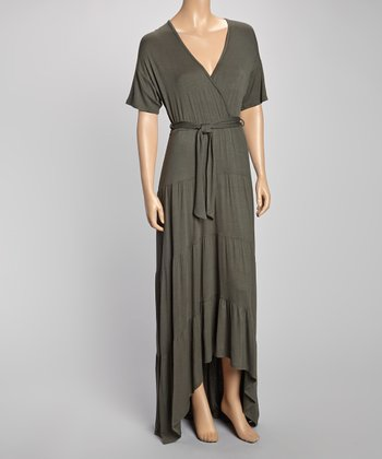 Olive Tie-Waist Tiered Surplice Maxi Dress