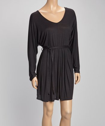 Black Tie-Waist Dolman Dress