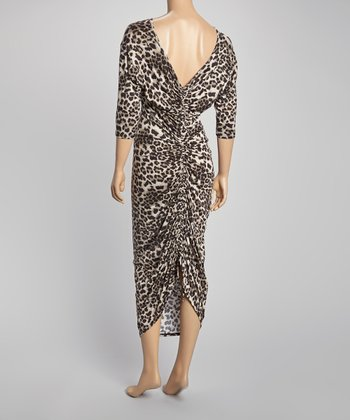 Black & Tan Ruched Leopard Maxi Dress