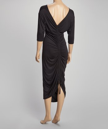 Black Ruched Maxi Dress