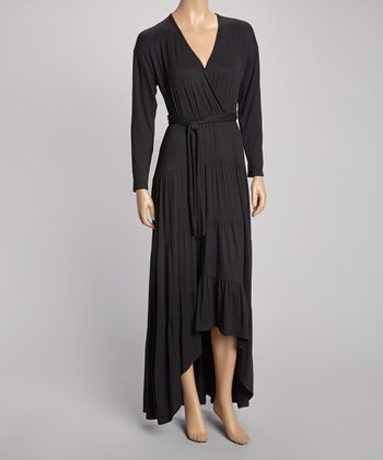 Black Tie-Waist Hi-Low Surplice Maxi Dress
