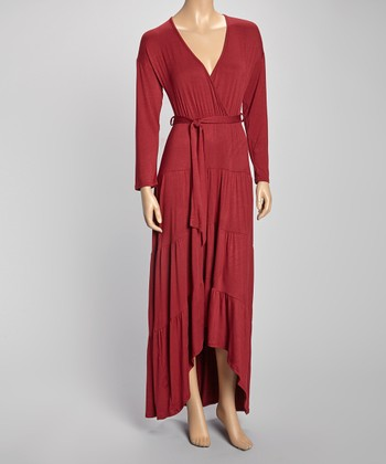 Wine Tie-Waist Hi-Low Surplice Maxi Dress