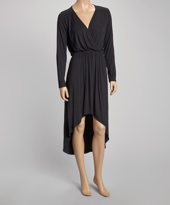Black Hi-Low Surplice Dress