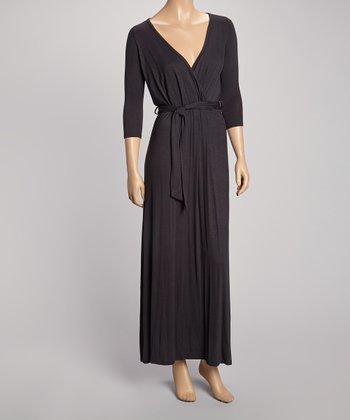 Black Three-Quarter Sleeve Surplice Maxi Dress