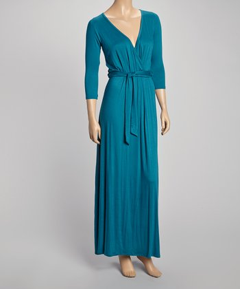 Teal Three-Quarter Sleeve Surplice Maxi Dress