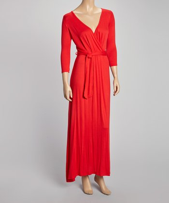 Red Three-Quarter Sleeve Surplice Maxi Dress