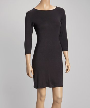 Black Three-Quarter Sleeve Sheath Dress