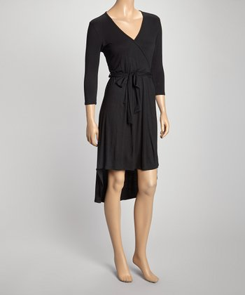 Black Tie-Waist Hi-Low Surplice Dress