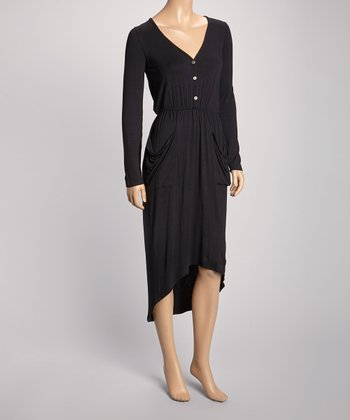 Black Pouch Pocket Hi-Low Henley Dress
