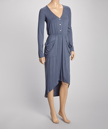 Gray Pouch Pocket Hi-Low Henley Dress